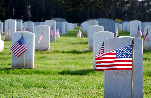 Flag at grave site